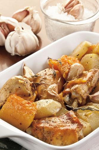 Pollo-con-verduras-al-ajillo