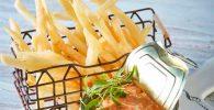 Receta de papas fritas con dip de atún