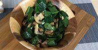 receta de ensalada de espinacas, tocino y champiñones