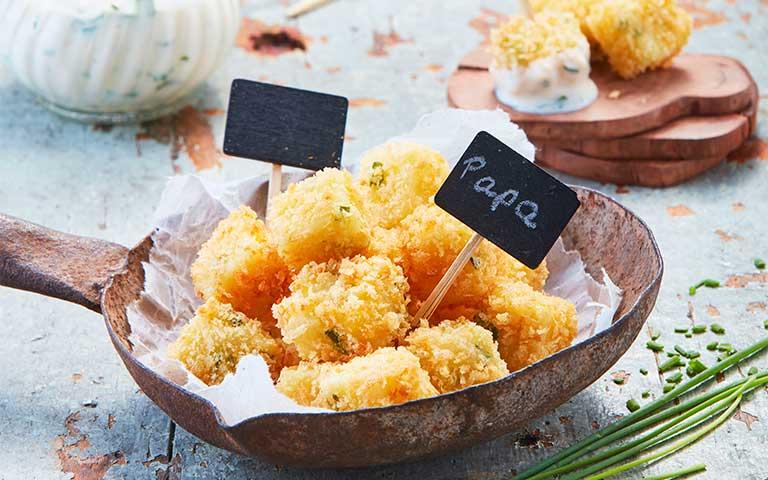 Receta de Cubitos de puré empanizados Con cebollín
